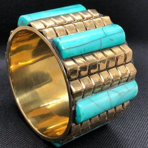VIntage Brass and Turquoise Bone large cuff